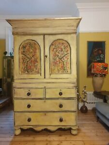 Vintage Pine Linen Press/ Cupboard With Inlaid Chinioserie Panels