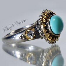 Barbara Bixby Turquoise & White Topaz Sterling 18K Gold Ring Size 7