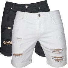 Bermuda uomo Jeans strappati pantaloni corti shorts Bianco Nero nuovo 255