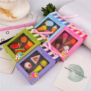 Mini Eraser Cute Cake Ice Cream Hamburge School Supplie for Kids dollhouse