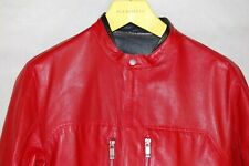 ZEGNA SPORT MEN REVERSIBLE RED BLACK  MOTO BIKER RIDING FITTED LEATHER JACKET M