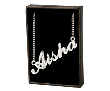 "Name Necklace ""AISHA"" - 18ct White Gold Plated - Personalized Gifts - Stylish"