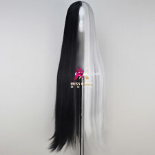 110cm Extra Long Straight Black and White Game Anime Cosplay Wig