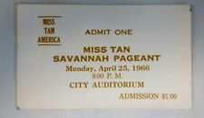 """Rare Ticket - 1966 """"Miss Tan America Pageant"""""""