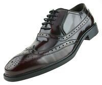 Mens Oxfords, Shiny Tuxedo Dress Shoes, Genuine Box Calf Leather Wingtip Lace Up