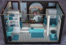 Vintage Dollhouse Miniature Room Box 1:12 Bathroom Tub Shower Stainglass Stock