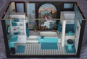 Vtg Dollhouse Miniature Room Box 1:12  Bathroom Tub Shower Accessories Perfumes