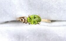 10Kt REAL Yellow Gold 7x5 Oval Arizona Peridot Gemstone Gem Stone Size 7 Ring