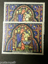FRANCE 1966, timbre 1492, VARIETE COULEURS, TABLEAU VITRAIL, neuf**, MNH STAMP
