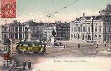 Carte postale ancienne SUISSE SCHWEIZ GENEVE place neuve et théâtre tramway ti.
