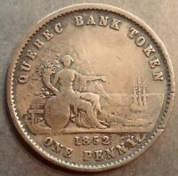 Canada 1852 Quebec Bank One Penny Token Deux Sous Attractive. FREE SHIPPING