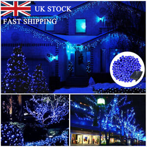 100 200 300 400 500 LED Solar Powered String Lights Waterproof Outdoor Xmas Blue