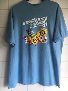 Large Sanctuary Festival 2007 Light Blue T-Shirt Great Dance Festival T Vintage