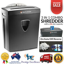 Centurion Office Combo Paper Shredder 21L Cross Cut 10 A4 Sheets CD Credit Cards