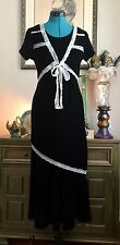 VTG 90s Black Velvet Lace Dress Gothic COSTUME Gypsy Romantic STRETCH Tie Back