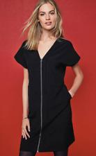 NEXT BLACK V NECK ZIP FRONT SHORT SLEEVE SMART OFFICE SHIFT DRESS SIZE 6 - 24
