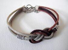 Bracelet  noeud marin beige & marron chaînette de sécurité fantaisie carrick