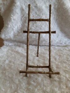 """9"""" True Vintage Gold Gilt Faux Bamboo Easel Photo Picture Holder Stand MCM Rare"""
