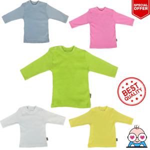 Newborn Baby Boy Girl Plain Shirt T-Shirt Long Sleeve Infant Clothes 0-18 Months