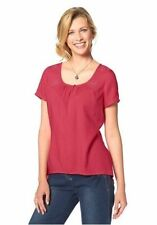 Hüftlang Damenblusen,-Tops & -Shirts mit Rundhals und Baumwollmischung
