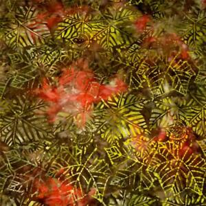Hoffman Batik Olive Green, Brown, Burnt Orange, Leaves, Cotton, BTHY or BTY
