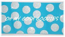 "3"" Glitter Jumbo Cheer Team Dots Turquoise White Grosgrain Ribbon 4 Hairbow Bow"