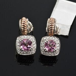 C. KRYPELL 0.35 CT. DIAMOND 2.57 CT. PINK TOPAZ EARRINGS 14K ROSE GOLD & SILVER