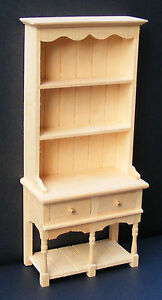 1:12 Scale Natural Finish Wood 2 Drawer Dresser Tumdee Dolls House Miniature 05