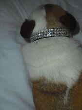 """Black Medium Swarovski Crystal Rhinestone Dog Collar Fits 11-14"""" Necks"""