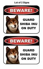 2 Count Beware Guard Shiba Inu on Duty (v1) Laminated Dog Sign