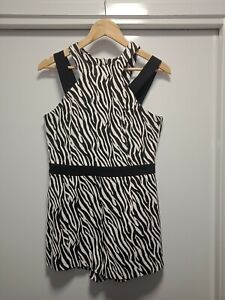 RIVER ISLAND Womens Playsuit Size 10 Romper Black & White Clubwear Animal Print