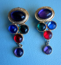Vintage EGYPTIAN REVIVAL LARGE GLASS CABOCHON EARRINGS Gold Runway Haute Couture