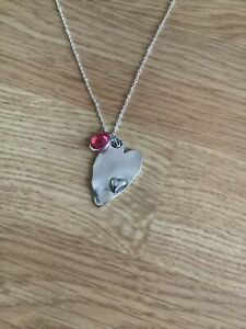 Pink Crystal & Wonky Silver Love Heart Necklace