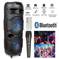 "Dual 8"" Woofer Powered Wireless Portable Party Bluetooth Speaker Audio Stereo"