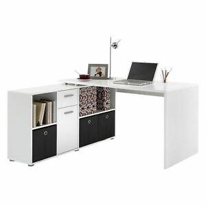 FMD Corner-Combination Desk Lex-136 x 75 x 68cm -White-2 flat pack boxes-353-001