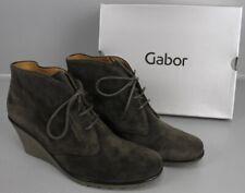 Gabor Ankle Boots Keilabsatz Schnür-Stiefelette Verlourleder Gr 42 / 8 M2-LDF