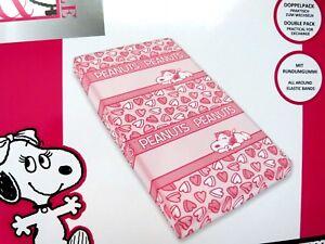 2 Peanuts Snoopy Belle 70x140 Bettlaken Kinder Spannbettlaken Pink Charlie Brown