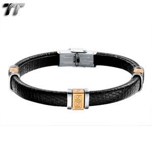 TT Rose Gold Greek Pattern Black Leather 316L S.Steel Bracelet (BR139) NEW