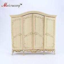 Dollhouse 1:12 scale Miniature furniture Unpainted Handmade four door wardrobe