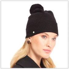 0a1bf35d79a2 NWT Kate Spade Women's Scallop Pom Pom Wool Beanie hat, Black KS1001074