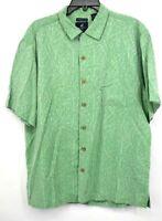 Caribbean Joe Mens Green 100% Silk Short Sleeve Button Front Hawaiian Shirt L
