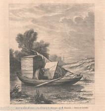 Antique print boat Charles-François Daubigny painter / 1859