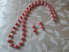 "20"" 8MM PINK OPAL & ROSE QUARTZ HANDMADE STRAND NECKLACE & EARRING SET 925 CLASP"