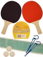 NEW 2 PLAYER TABLE TENNIS PING PONG SET BATS 3 BALLS NET POLE SET - FREE POST