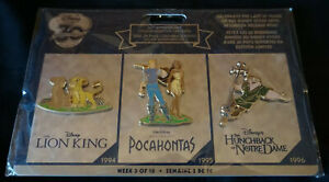 Disney Store 30th anniversary pin set Week 3 Lion King Pocahontas Hunchback