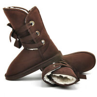 Women's Winter Warm Suede Fur Lined Mid-calf Snow Flat Short Boots Shoes Size