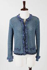 LOVE MOSCHINO – Stunning Blue Knit Ruffle Trim Sweater Jacket – Size M