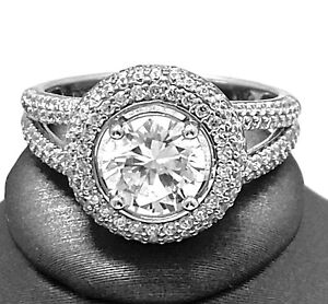 .925 Sterling Silver 2.75ct Diamonique Diamond Round Cut Pave Ring 14k Over