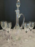 CRYSTAL CLEAR INDUSTRIES HAND CRAFTED ROMANIA DECANTER 4 MATCHING WINE GOBLETS