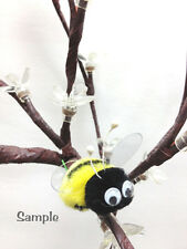 6 Pompom Bumble Bees Black&yellow W/googly Eyes Craft Spring Easter Floral Picks